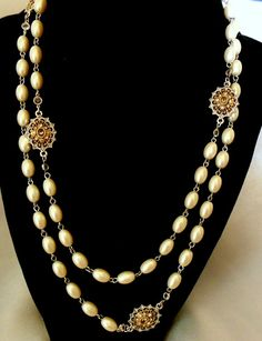 Simulated Pearl Necklace with Gold Medallions by VJSEJewelsofhope, $20.00