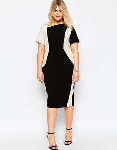 ASOS CURVE Pencil Dress in Color Block - Plus Size