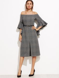 Shein's Grey Plaid Off The Shoulder Ruffle Sleeve Dress - Nice tweed fabric