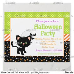 Black Cat and Full Moon Halloween Party Adult Halloween Invitations, Kids Birthday Party Invitations, Adult Halloween Party, Halloween Birthday, Halloween Gifts, Halloween Festival, Halloween Stuff, Festival Party, Happy Halloween