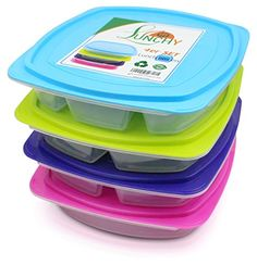 Lunchbox Set 4 St�ck Bento Box Brotzeitbox Kinder auslaufsicher Brotzeitdose Kinder Meal-Prep Boxen Lunch Box mit 4 F�chern mit Trennwand f�r Kinder und Erwachsene von LUNCHY