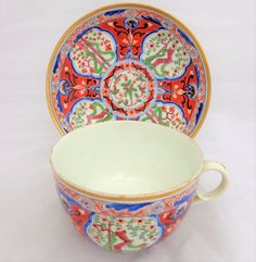 Antique Spode Porcelain Bute Cup & Saucer Hand Painted $ Dollar Pattern 283 1815 #Georgian #CupsSaucers