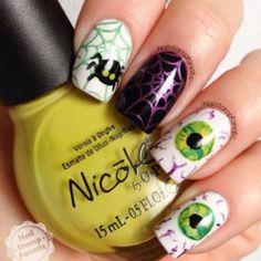 Halloween, nails, and nail art image Get Nails, Fancy Nails, Love Nails, Pretty Nails, Halloween Nail Designs, Halloween Nail Art, Scary Halloween, Pretty Halloween, Happy Halloween