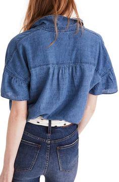 Product Image 1 Boho Fashion, Fashion Dresses, Womens Fashion, Fashion Design, Ruffle Sleeve, Ruffle Blouse, Denim Button Up, Button Up Shirts, Short Shirts
