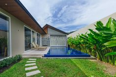 Exterior courtyard with pool of a 3 bedroom/3 bath villa in Phuket, Thailand. It's located just a couple of minutes from the beach.
