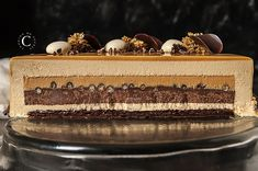 Entremets Baileys · Cooking me softly Layered Desserts, Elegant Desserts, Fancy Desserts, Fancy Cakes, Sweet Recipes, Cake Recipes, Dessert Recipes, Gourmet Desserts, Plated Desserts