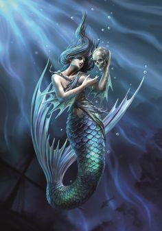 Anne Stokes well known for her stunning fantasy artwork. Based in Leeds, Yorkshire, Anne Stokes is married with a young son. Dark Mermaid, Siren Mermaid, Mermaid Fairy, Evil Mermaids, Fantasy Mermaids, Mermaids And Mermen, Mermaid Artwork, Mermaid Drawings, Mermaid Tattoos