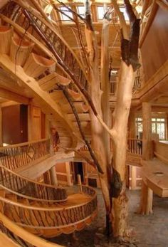 stairs are cool and walkway - feels like a tree house interior should feel.