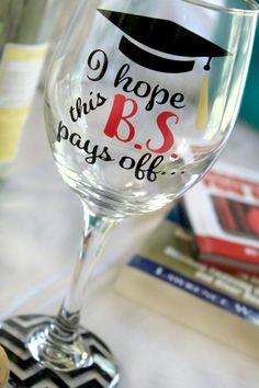 Graduation Wine Glass Graduate Wine Glass by MonogramRevolution @VinoPlease #VinoPlease