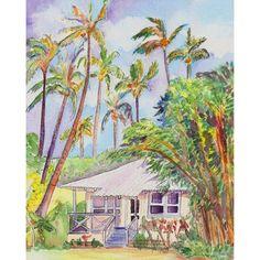 Kauai art prints, Kauai Plantation Cottages, Wamiea Houses, Hawaiian... (490 MXN) ❤ liked on Polyvore featuring home, home decor, wall art, white home decor, unframed wall art, white paintings, white wall art and ink painting