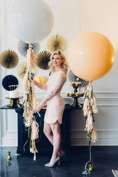 "36"" Giant Balloon with Tassel Garland / Blush and White Wedding Balloon / Gender Reveal confetti balloon / Bridal Shower / Baby shower"