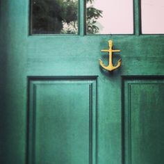 Brass anchor door knocker & Nautical Navy Blue paint from Loweu0027s and Anchor Door Knocker from ...