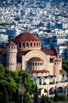 Church of St. Pavlo, Thessaloniki, Greece - The Orthodox Church of St. Pavlo in Thessaloniki, Greece. Places Around The World, Oh The Places You'll Go, Travel Around The World, Places To Travel, Around The Worlds, Myconos, Byzantine Architecture, Greece Architecture, Grande Hotel