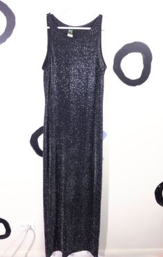 90s Black Silver Sparkle Maxi Tank Dress by badatpettingcats, $32.00