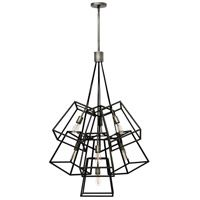 """Fulton's minimalist beauty emphasizes 'less is more' with vintage industrial style. This clean, airy tapered cage design is constructed without glass and the unique square candle sleeves rest on a discreet """"H""""-shaped cluster. Lighting Store, Chandelier Lighting, Modern Industrial, Vintage Industrial, Square Candles, Minimalist Beauty, Ceiling Installation, Multi Light Pendant, Large Chandeliers"""