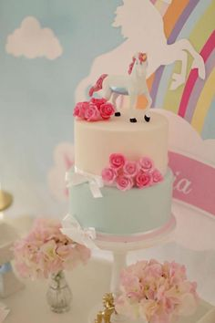 Cake at a Unicorn Party with Lots of Great Ideas via Kara's Party Ideas | KarasPartyIdeas.com