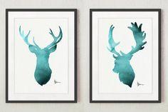 Deer Art Prints Set of 2 Teal Watercolor Paintings, Turquoise Wall Decor Kids Room Posters