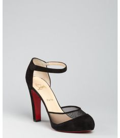 Christian Louboutin Black Suede and Mesh Vicky Jane 120 Ankle Strap Pumps in Black - Lyst