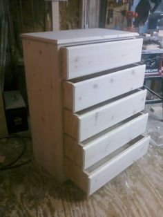 Chest of Drawers, Computer Desk, Dry Erase Board Woodworking Shop Layout, Woodworking Projects That Sell, Woodworking Furniture, Woodworking Plans, Woodworking Crafts, Pine Dresser, Tall Dresser, Dresser Desk, Diy Dresser Plans