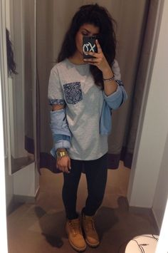 Casio Gold Chunky Watch, H&M Bandana Print T, Timberland Boots, Chambray Shirt