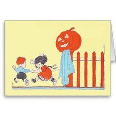 Children Jack O Lantern Pumpkin Fence Cards