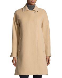 TB826 Cinzia Rocca Due One-Button Wool-Blend Long Coat, Sand