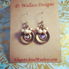dwallacedesigns Vintage button, crystal and pearls earrings.