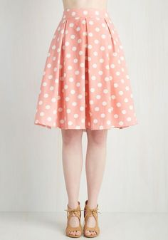 Sweet Yourself Skirt in Strawberry. Slip into this polka-dotted skirt and gift yourself a darling ensemble! #pink #modcloth