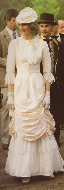 Princess Diana's  Klondike Ensemble is a Pink/Peach Silk Period Dress and Hat in the style of 1880 worn by her during a Royal Tour to Canada in 1983.