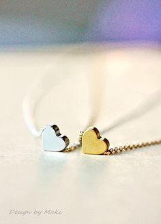 Simple Tiny Heart Necklace on 14k Gold Filled Chain-for Mother's Day, Wedding, Bridesmaid gifts, fashion,Handmade by Maki Y design by MakiYDesign on Etsy https://www.etsy.com/listing/95024046/simple-tiny-heart-necklace-on-14k-gold