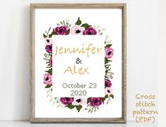 Wedding Cross Stitch Patterns, Modern Cross Stitch Patterns, Alphabet And Numbers, To Color, Cross Stitching, Print Patterns, Pattern Design, Wedding Gifts, Floral Wreath