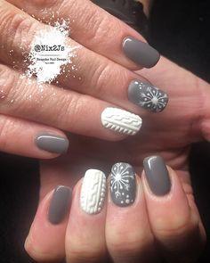 Winter Nails Designs - My Cool Nail Designs Grey Nail Art, Gray Nails, 3d Nails, Grey Christmas Nails, Holiday Nails, Grey Nail Designs, Winter Nail Designs, Snowflake Nails, Sweater Nails
