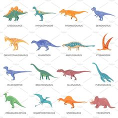 Free art print of Dinosaurs Colored Isolated Icons Set. Colored isolated icons set of different types of dinosaurs in cartoon style with name of class or kind flat vector illustration Dinosaur Alphabet, Dinosaur Posters, Dinosaur Images, Dinosaur Art, Dinosaur Classroom, Dinosaur Cookies, Animal Posters, Icon Set, Names Of Dinosaurs