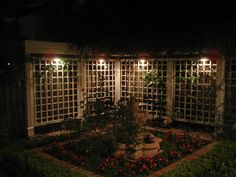 Lighting changes this trellis into a masterpiece in the evening
