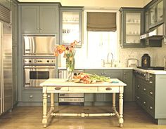 Grey colored cabinets!