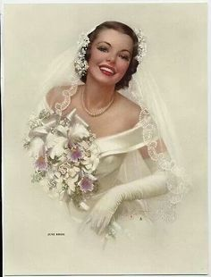 Pin-up: Zoe Mozert, A June Bride, Brown & Bigelow, Wedding Bride, Wedding Gowns, Dream Wedding, Wedding Day, Wedding People, Wedding Blog, Wedding Styles, Bridal Gowns, Vintage Outfits