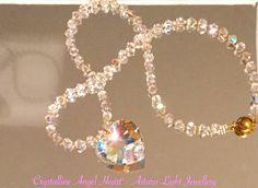 "Stunning Angelic Crystalline Heart  Swarovski crystals & Swarovski heart. 28"" in length. Made to order - $75.00  #swarovskiheart #angelicjewellery"