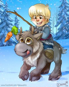 Kristoff & Sven; so cute!! Probably the best animal friend Disney created. <3