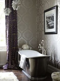 Elegant bathrooms...try wallpaper with tile; lamps and sparkly pendants with fixtures; and heavy fabrics with sheers for windows.