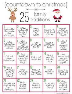 Pick up this Christmas Countdown Printable to fill your buck.- Pick up this Christmas Countdown Printable to fill your bucket list and 25 Christmas Traditions to Start Right Now on Frugal Coupon Living! Traditions To Start, Family Traditions, Holiday Traditions, Noel Christmas, Winter Christmas, Christmas Crafts, Christmas Printables, Christmas Calendar, Countdown To Christmas