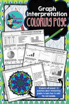 Looking for a fun, rigorous instructional resource for interpreting graphs? Why not give coloring pages a try?   This Graph Interpretation Coloring Page will aid in student concentration and engagement, plus coloring has proven relaxation and stress relieving benefits. Sometimes students just need a brain break! Students will answer questions based on line graphs, bar graphs, circle graphs, double line graphs, charts, and histograms to learn how to color the accompanying page.