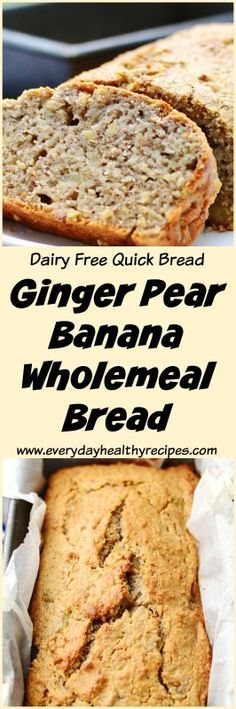 Ginger Pear Banana Wholemeal Bread This dairy free, easy to make Ginger Pear Banana Wholemeal Bread is packed full of goodness and flavour, making a delicious breakfast/brunch option as well as healthy snack anytime! #everydayhealthyrecipe #quickbread #bananabread #gingerbread #pears #wholemeal #easyrecipe #healthysnacks #easylunchboxes #dairyfree #lowcalorie