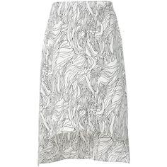 Marni asymmetric midi skirt ($565) ❤ liked on Polyvore featuring skirts, white, asymmetrical skirt, asymmetrical high low skirt, hi lo skirt, white skirt and white hi low skirt