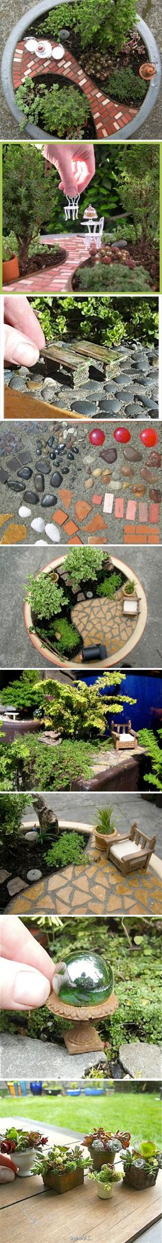 My son and I have been talking about creating a miniature garden.  This is great inspiration!