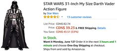 Amazon Canada Deals: Save 66% on Star Wars 31-Inch My Size Darth Vader Action Figure 68% on Disney Sandwich Bag... http://www.lavahotdeals.com/ca/cheap/amazon-canada-deals-save-66-star-wars-31/210426?utm_source=pinterest&utm_medium=rss&utm_campaign=at_lavahotdeals
