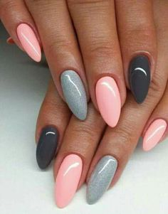 The best ideas for manicure 2018 for long nails - nails art - . - The best ideas for manicure 2018 for long nails – nails art – Be - Natural Nail Designs, Grey Nail Designs, Acrylic Nail Designs, Art Designs, Design Art, Modern Design, Almond Acrylic Nails, Almond Shape Nails, Nailed It