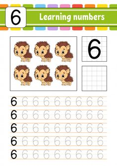 Trace And Write. Learning Number Six Preschool Writing, Numbers Preschool, Learning Numbers, Preschool Curriculum, Writing Activities, Line Tracing Worksheets, Kids Math Worksheets, Toddler Learning Activities, Preschool Activities
