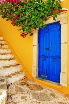 Photographic Print: Colorful Greece Series -Symi Island Streets by Maugli-l : Greece Wallpaper, Pintura Exterior, Yellow Houses, Colorful Houses, Unique Doors, Exterior Paint, Doorway, House Painting, House Colors