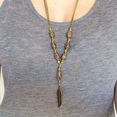 Tibetan Y Necklace Turquoise, Coral & Bronze Feather // Rosary Inspired Boho Necklace