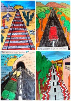 """Road to Regions"" Regions of the United States, students can choose what region they want to incorporate in their artwork. School Art Projects, Classroom Art Projects, Art Classroom, Arte Elemental, Creation Art, 6th Grade Art, Perspective Art, Ecole Art, Middle School Art"